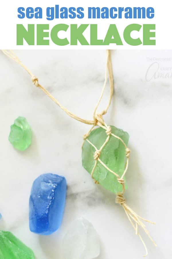This macrame sea glass necklace lets you wear your beach discoveries this summer. All you need is a beautiful piece of sea glass and some cording to make your own jewelry for this project.