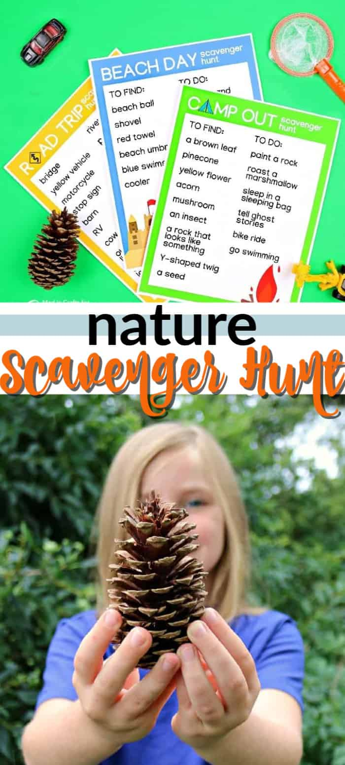 nature scavenger hunt printable pin image
