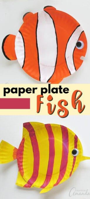 paper plate tropical fish pin image