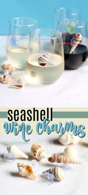 seashell wine charms pin image