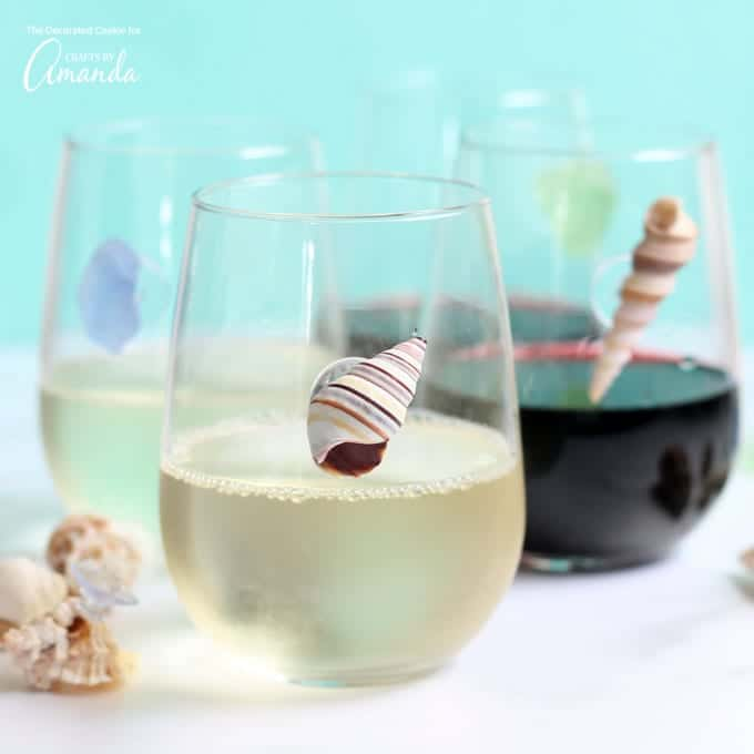 Seashell wine charms for wine glasses