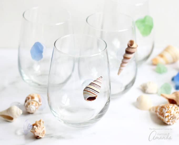 Seashell Wine Charms on glasses