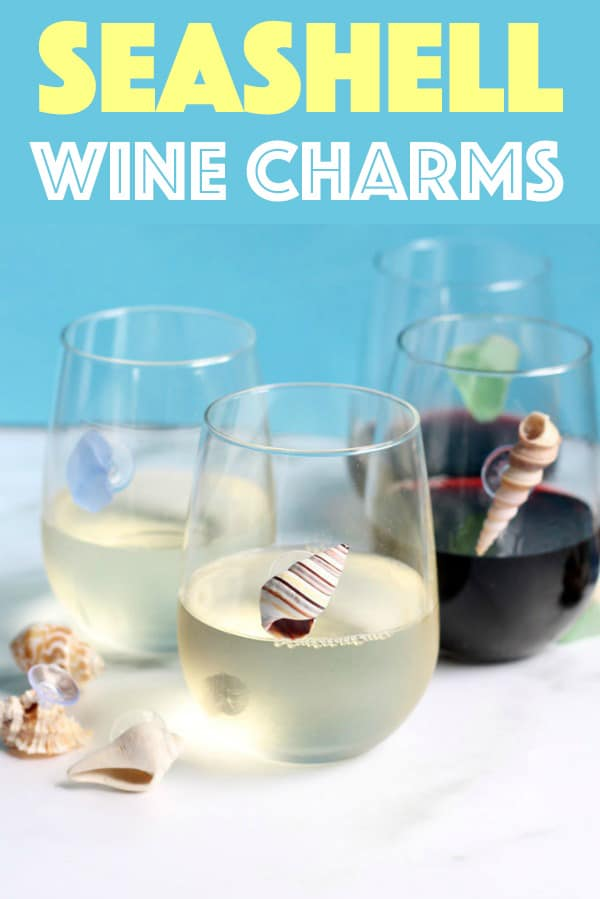 seashell wine charms on wine glasses