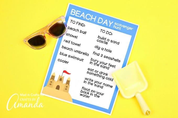 scavenger hunt printable with yellow background