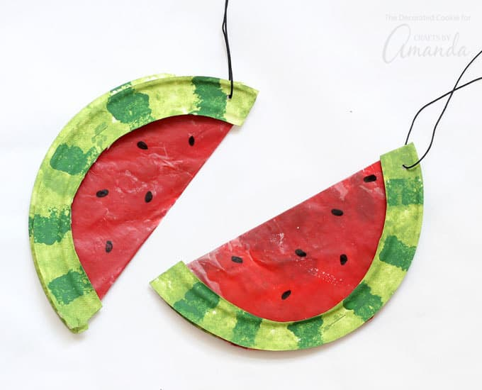 watermelon suncatchers made from paper plates and crayons