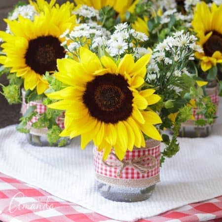 mason jar centerpieces with sunflowers