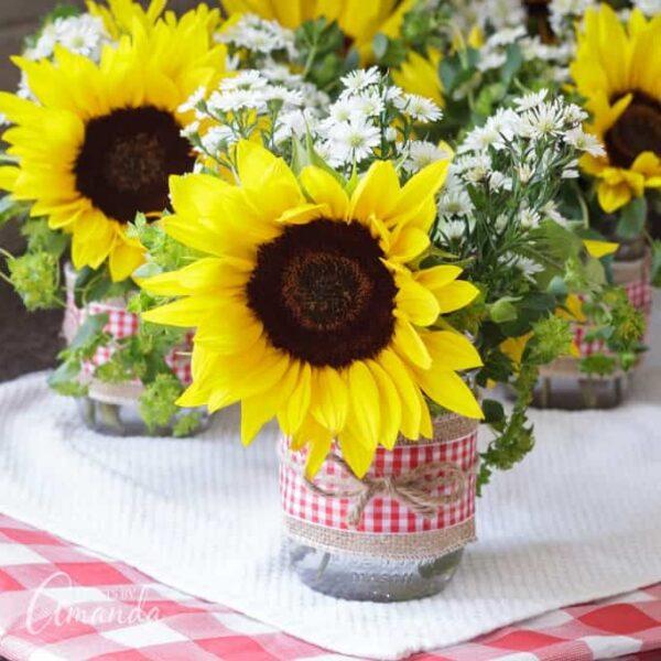 Sunflower Mason Jar Centerpieces