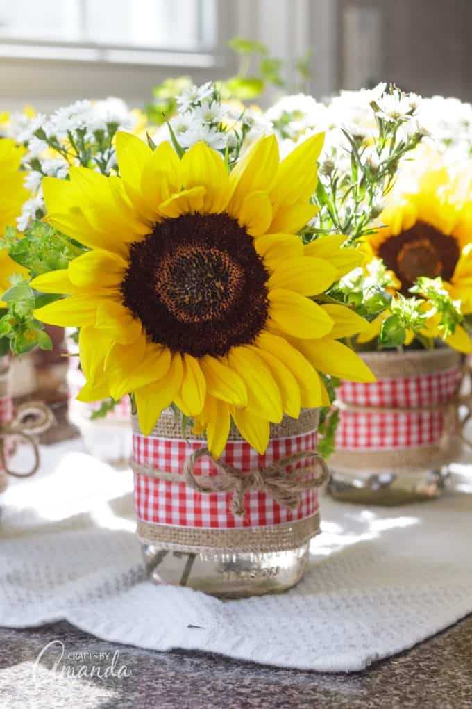 Sunflower Mason Jar Centerpieces