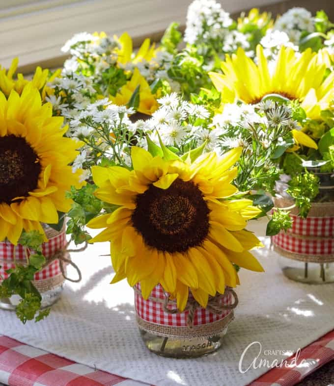 sunflowers in mason jar centerpieces