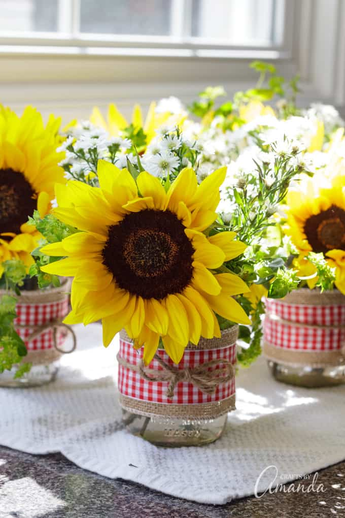 sunflowers in mason jars
