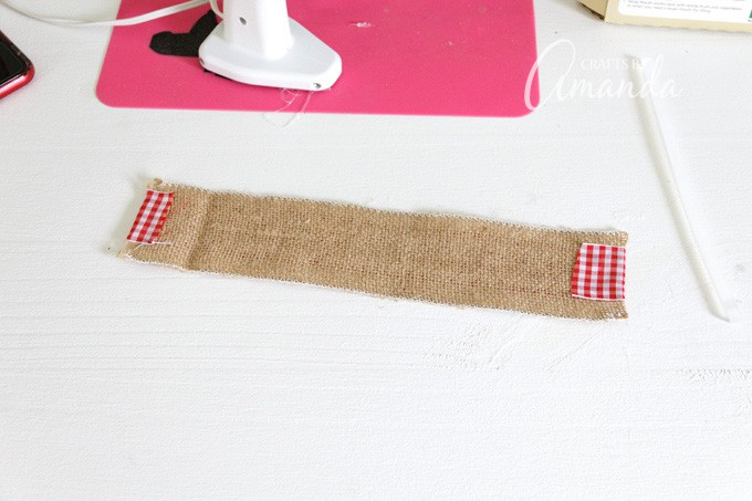 ribbon glued to burlap