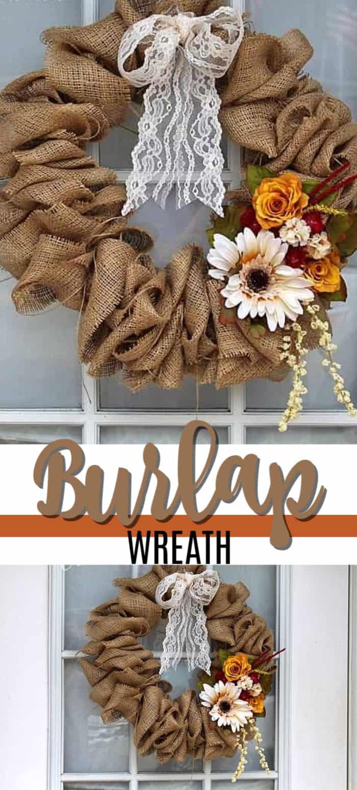 burlap wreath pin image