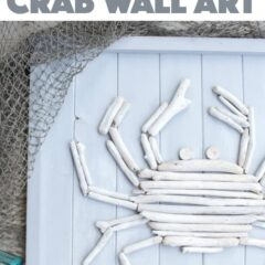 Next time your at the beach, don't forget to collect some driftwood for making your own crab coastal decor, like this driftwood crab wall art! #driftwood #beachcrafts #wallart #beachdecor #beach #cottage #beachart