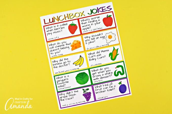 Printable cards with food related jokes on them