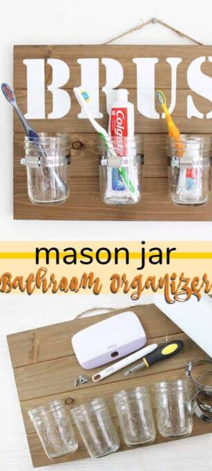 mason jar bathroom organizer pin image