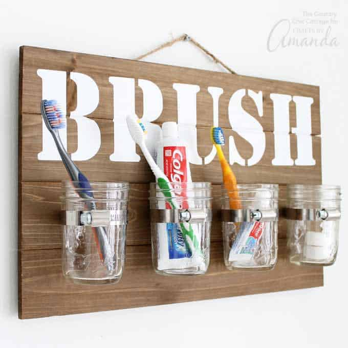 Mason Jar Bathroom Organizer Hanging On Wall With Toothbrushes And  Toothpaste