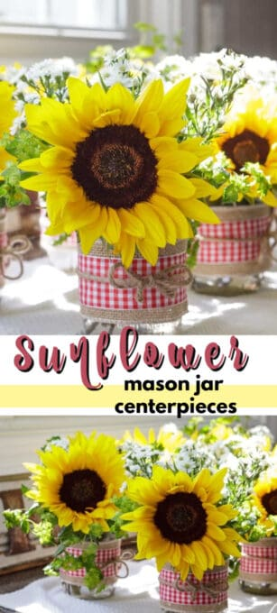 sunflower mason jar centerpieces pin image