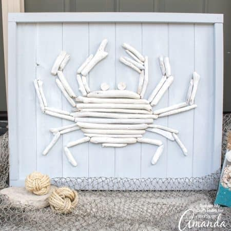 Next time your at the beach, don't forget to collect some driftwood for making your own crab coastal decor, like this driftwood crab wall art!