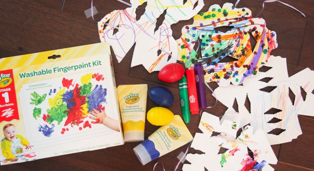 paper snowflakes and crayola products