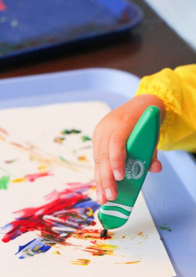 toddler making art