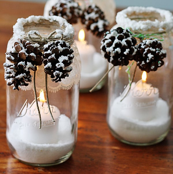 SNOWY PINECONE LUMINARIES