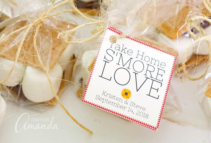 Wedding Take Home Gifts: Take Home S'more Love: Printable S'more Party Favor Bags