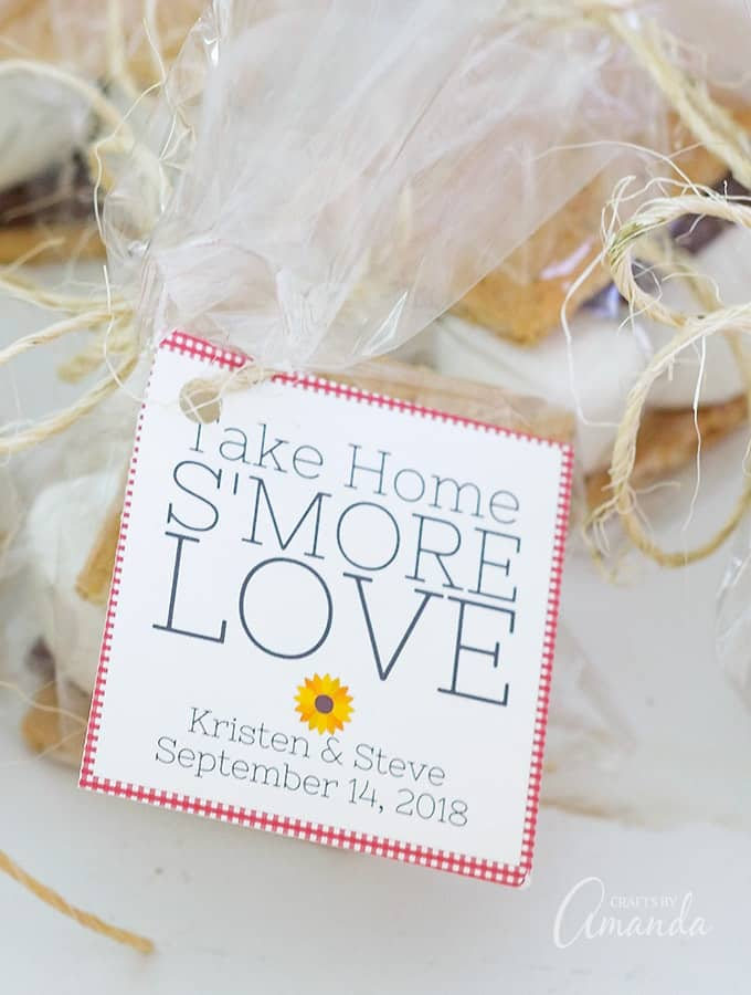 Take Home S\'more Love: Printable s\'more party favor bags, bridal shower