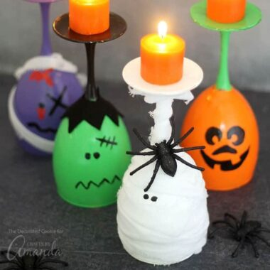 These Halloween wine glass candles are perfect for DIY Halloween decor or for your Halloween party centerpiece.