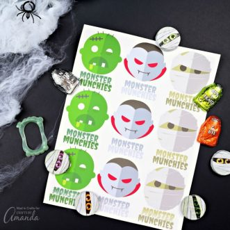 Make fun DIY Halloween treats three different ways using items found at the dollar store. Print them and stick them on Halloween goodie bags!