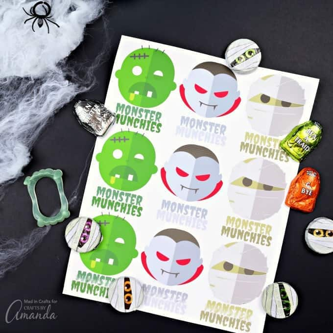 Monster Munchies printable stickers