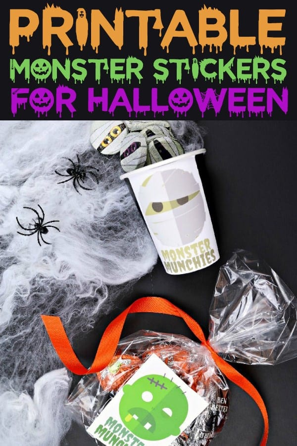 Printable Monster Stickers for Halloween Goodie Bags