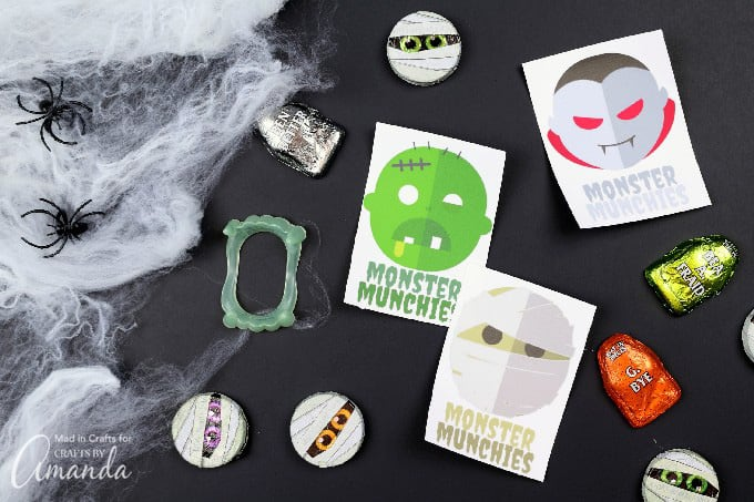 Printable monster stickers with halloween candy
