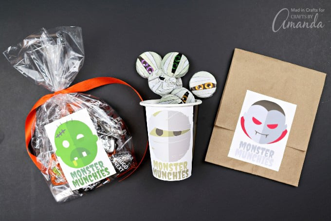 Printable Monster Stickers for Halloween Treat Bags