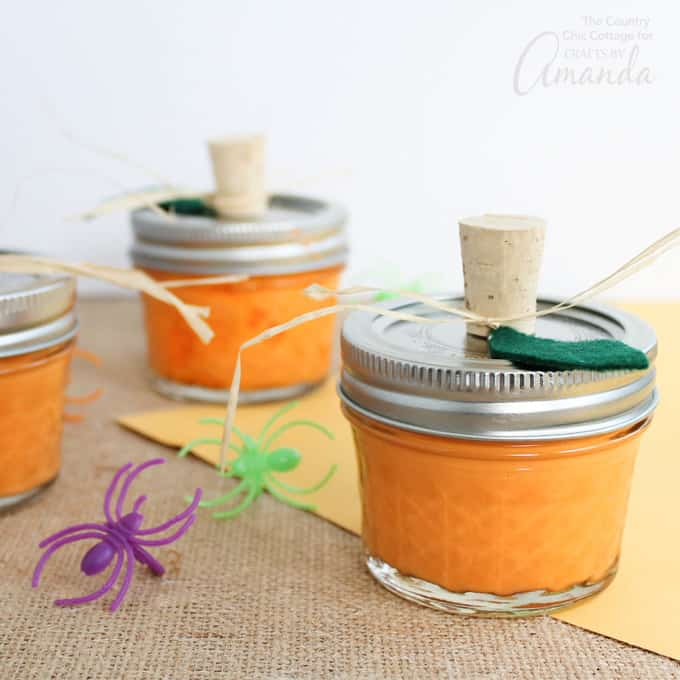 Pumpkin Slime in mason jars