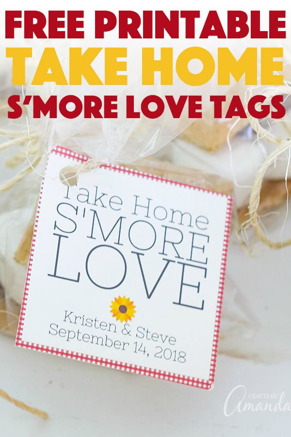 "Free Printable ""Take Home S'more Love"" tags for bridal showers or weddings!"