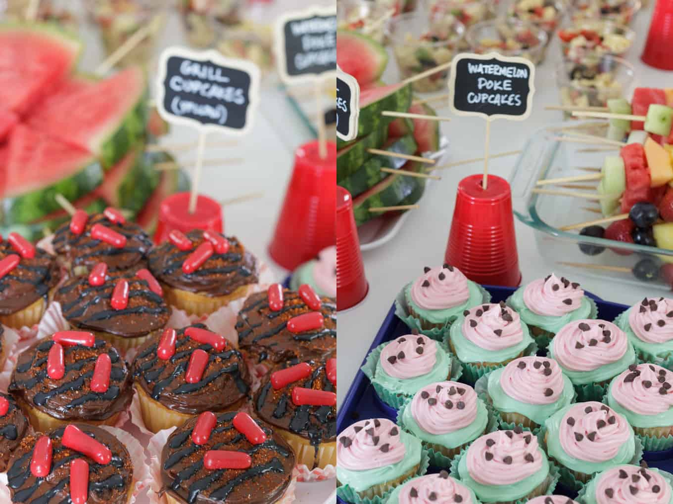 barbecue bridal shower watermelon cupcakes and grill cupcakes