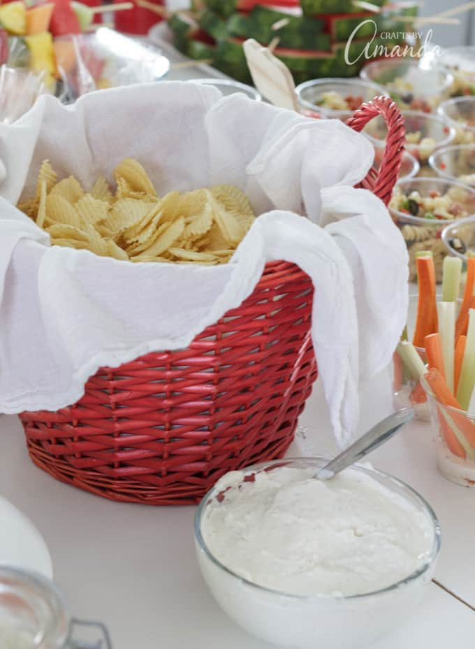 barbecue bridal shower chips in a basket