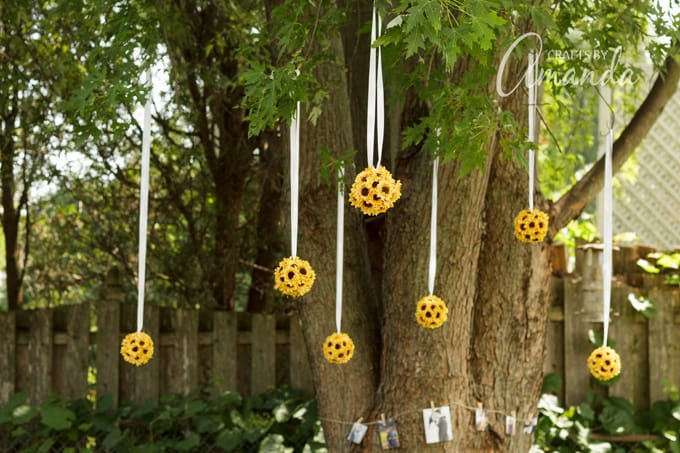 barbecue bridal shower sunflower kissing balls in a tree