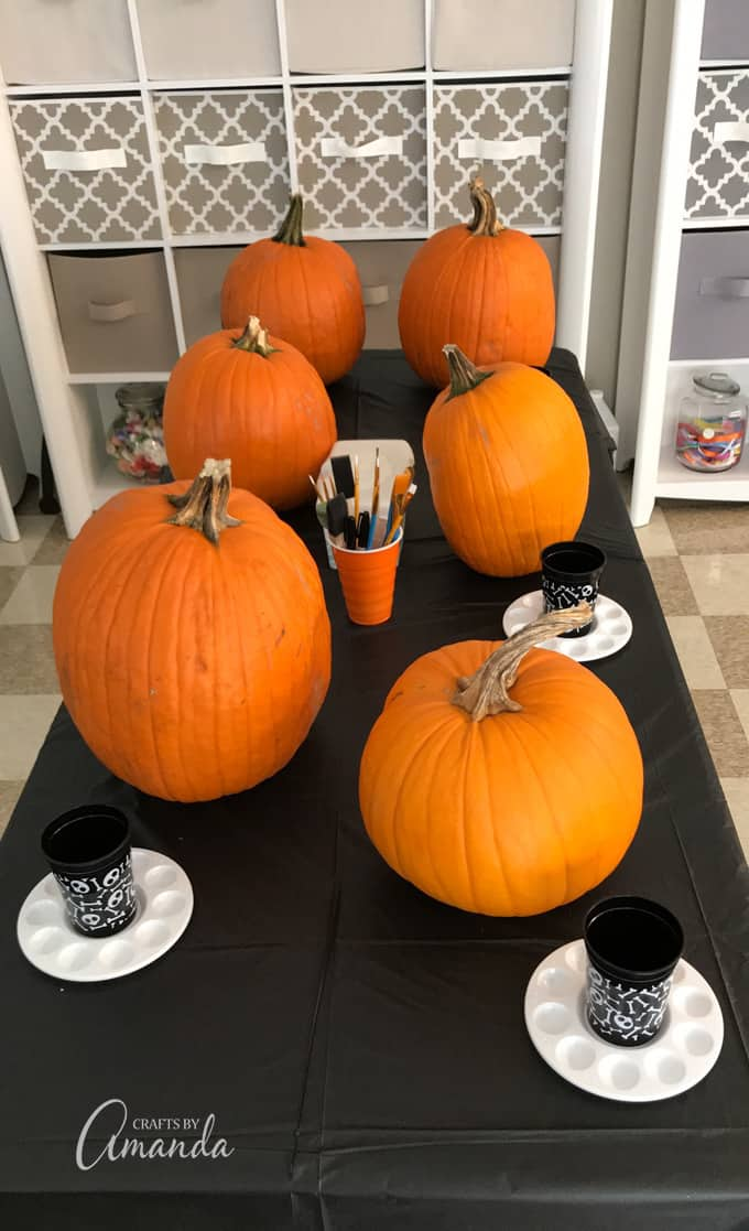pumpkins on table ready to be painted