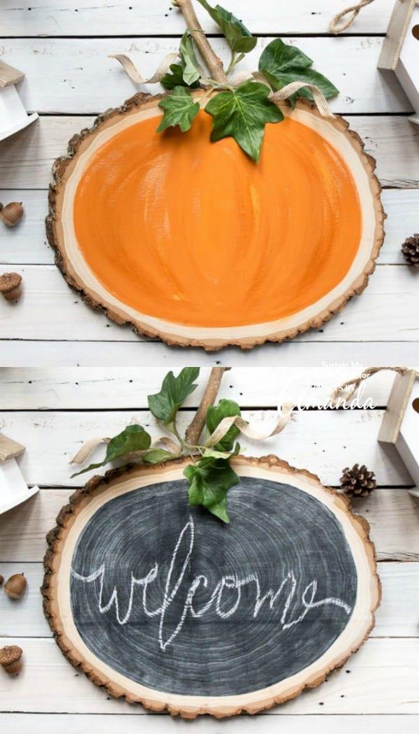 wood slice pumpkin chalkboard