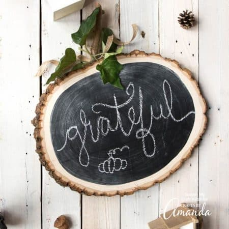 reversible wood slice pumpkin chalkboard