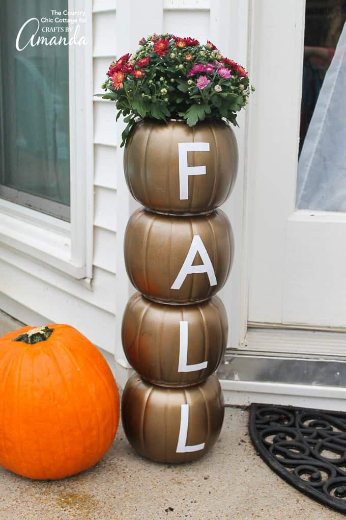 pumpkin planter that says FALL
