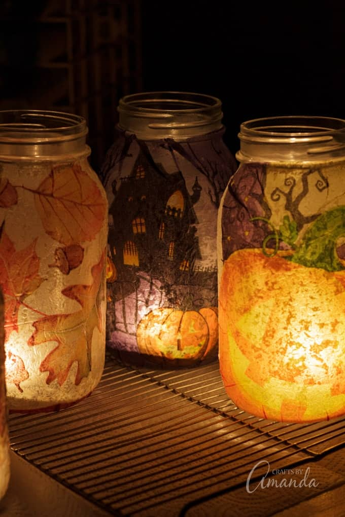beautiful fall mason jar luminaries
