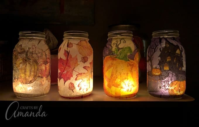 fall luminaries on shelf