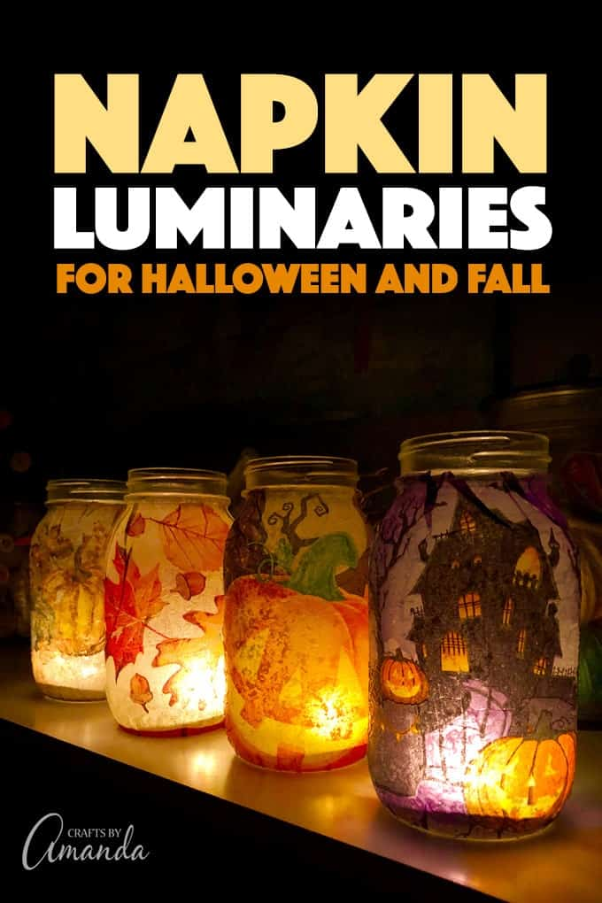 gorgeous fall and halloween mason jar luminaries made from paper napkins and mod podge