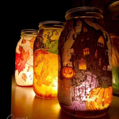 fall napkin luminaries all lit up