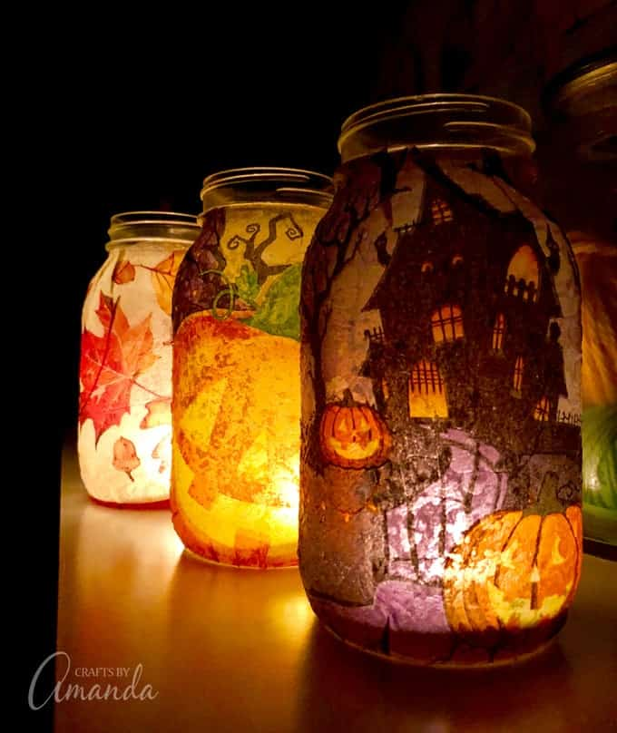 fall napkin luminaries all lit up