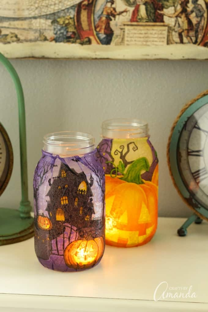 Halloween napkin luminaries with candles inside