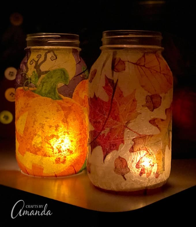 fall pumpkin mason jar luminary