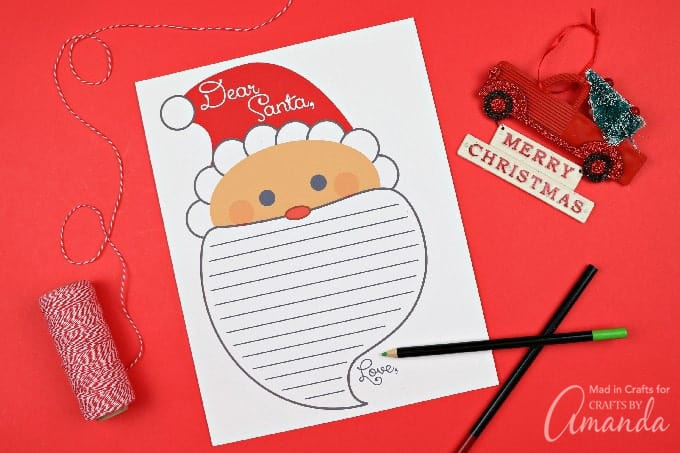 Adorable letter to santa printable